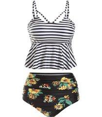 striped flower lace up peplum tummy control tankini swimsuit