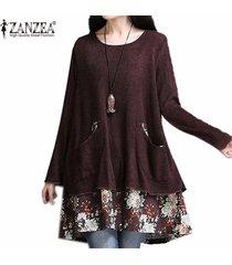 zanzea marca floja ocasional vestido de las mujeres de nueva otoño invierno o cuello de la impresión floral de los vestidos más del tamaño larga manga corta vestidos -café