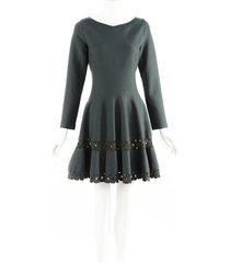 alaia green wool long sleeve fit and flare dress green sz: l