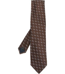 brioni all-over pattern tie - brown