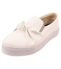 tênis casual laço calce fácil rosa chic calçados sapatênis nó laço iate napa branco