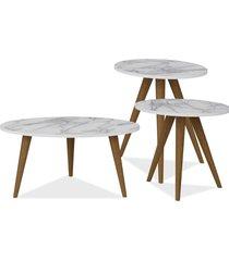 kit com mesa de centro e mesas laterais lyam decor retrô branco carrara