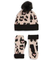 women's bp. leopard embellished pompom beanie & mittens set -