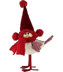 """northlight 10"""" standing white bird with red scarf and hat christmas tabletop decoration"""