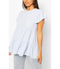 frill sleeve smock top, pale blue