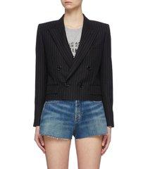 double breast pinstripe crop blazer