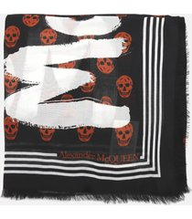 alexander mcqueen scarf with frayed edges and all-over skull print