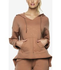 felina textured terry lounge hoodie with metallic foil print
