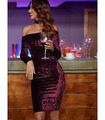 burgundy off shoulder bardot velvet dress with choker pencil party long sleeve