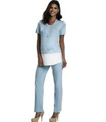 pijama recco em viscose stretch e renda bege