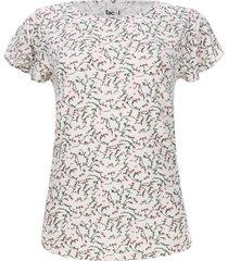camiseta mujer print miniflores color blanco, talla m