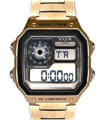 reloj digital  retro dorado vox