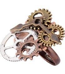 vintage gear components and clock pointer steampunk ring anello unico personalizzato per uomo donna