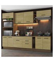 cozinha completa madesa agata 290001 com armário e balcão (sem tampo e pia) rustic/carvalho rustic/carvalho