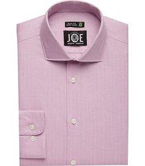 joe joseph abboud men's repreve® burgundy red herringbone slim fit dress shirt - size: 19 36/37