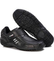 sapatenis couro tchwm shoes masculino calce facil dia dia preto - kanui
