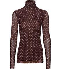 printed mesh t-shirts & tops long-sleeved bruin ganni