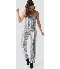 linn ahlborg x na-kd sparkle striped flared pants - silver