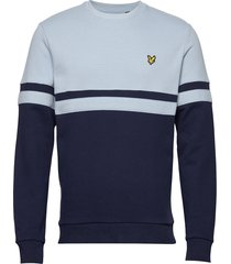 panel stripe crew neck sweatshirt sweat-shirt trui blauw lyle & scott