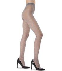 memoi women's diamond down sheer tights - steel grey - size m/l