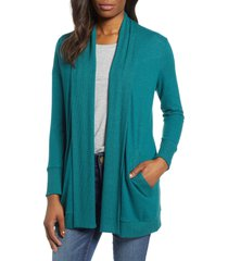 women's gibson cozy ribbed cardigan, size x-large - blue/green