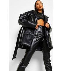 tall pu wikkel jas met ceintuur, black