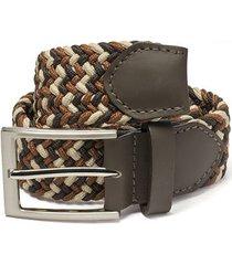 cinturón trenzado combinado beige, miel y cafe