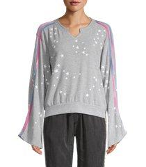 vintage havana women's star-print sweater - grey - size s