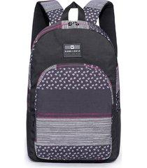 mochila escolar preta/rosa hang loose conch estampada