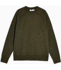 mens olive green high neck long sleeve sweatshirt