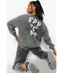 acid wash gebleekte pantone sweater met crewneck, grijs