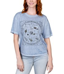 rebellious one juniors' celestial-print burnout t-shirt