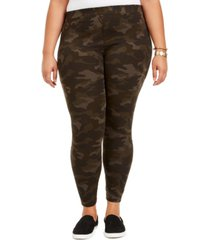 style & co plus size camo daze printed leggings, created for macy's