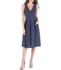 24seven comfort apparel fit and flare midi sleeveless polka dot dress with pockets