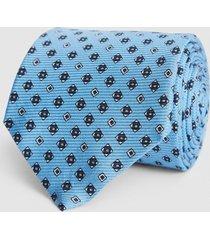 reiss trento - silk medallion tie in soft blue, mens