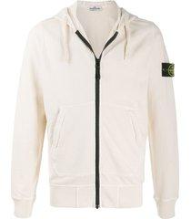 stone island drawstring zipped hoodie - neutrals