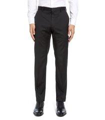 men's big & tall boss gibson cyl flat front solid slim fit wool dress pants, size 34 x l - black