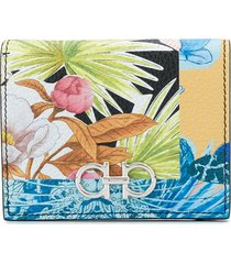 salvatore ferragamo gancini floral-print wallet - black
