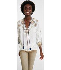 boho blouse 3/4 sleeve and v-neck - white - xxl