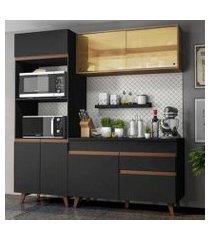 cozinha compacta madesa reims 190002 com armário e balcão preto/rustic preto/rustic