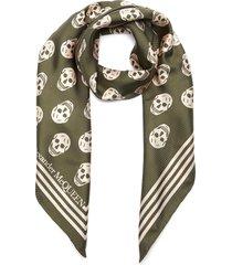 'biker' all-over skull print silk scarf