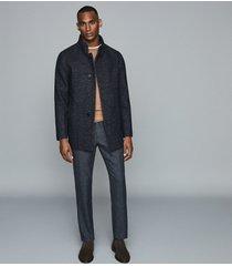 reiss leonardo - wool blend mid length coat in navy, mens, size xxl