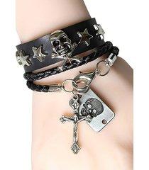 2pcs skull star cross hand-woven pu bracelet set