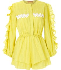 clube bossa litchy ruffled jumpsuit - yellow