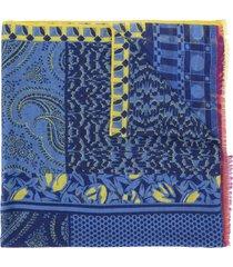 etro patchwork print cashmere scarf - blue