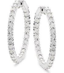 effy eny women's sterling silver & 1.08 tcw diamond hoop earrings