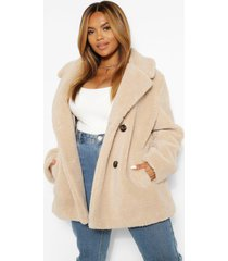 plus double breasted faux fur teddy coat, stone