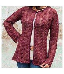 100% alpaca cardigan sweater, 'cherry tide' (peru)