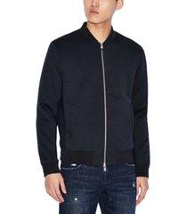 ax armani exchange men's slim-fit jacquard blouson jacket