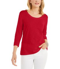 style & co petite cotton scoop-neck top, created for macy's